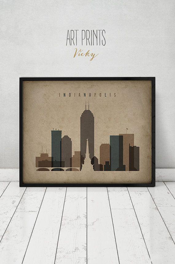Indianapolis Print Travel Poster Wall Art Vintage Style Skyline City Home Decor Fine ArtPrintsVicky