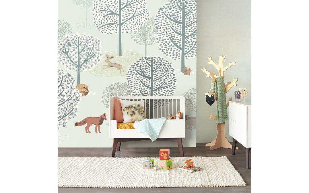 Kinderzimmer Fototapete 'Wald mit Tieren' mint/grün