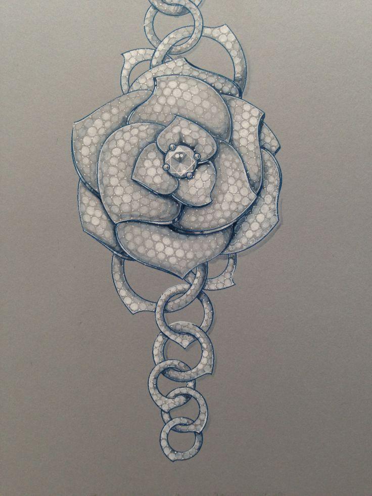 Chopard Rose Bracelet Sketch ♡ Jewelry Design Drawing