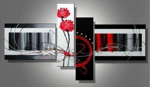 Cuadros Tripticos Modernos En Rojo,gris,negro,alto Relieve - S ...