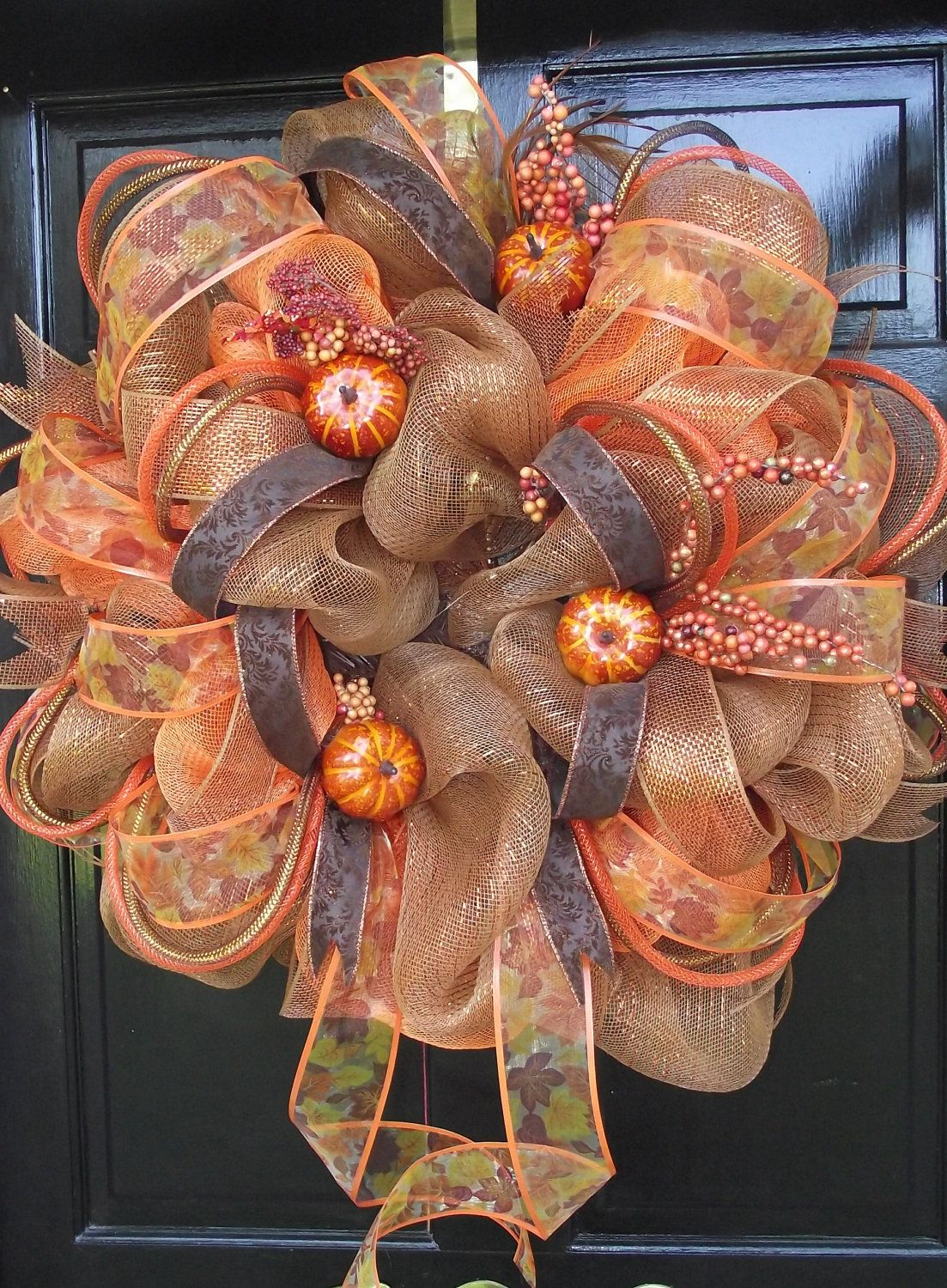 Photo of Items similar to Poly Deco FALL Orange Brown Mesh Wreath on Etsy