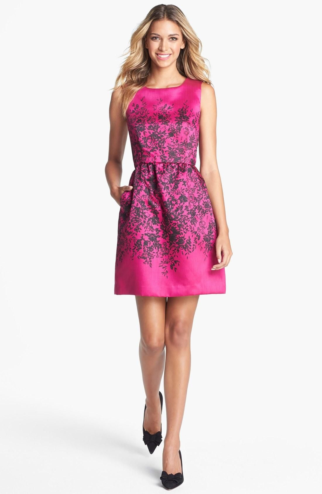 Cool floral print on fuchsia - love for bridesmaids! | Fashion ...