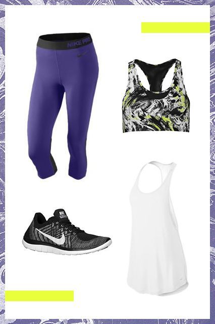 Keep in mind that you won't be at a gym with lockers, so your outfit should be as bare-bones as possible. An easy pair of cropped leggings and a no-frills top are key for summertime, while an abstractly patterned bra is a fun touch underneath a white tank top. Word to the wise: Invest in a solid pair of running sneakers — this class will have you on your feet nonstop. #refinery29 http://www.refinery29.com/best-outdoor-exercises#slide-2