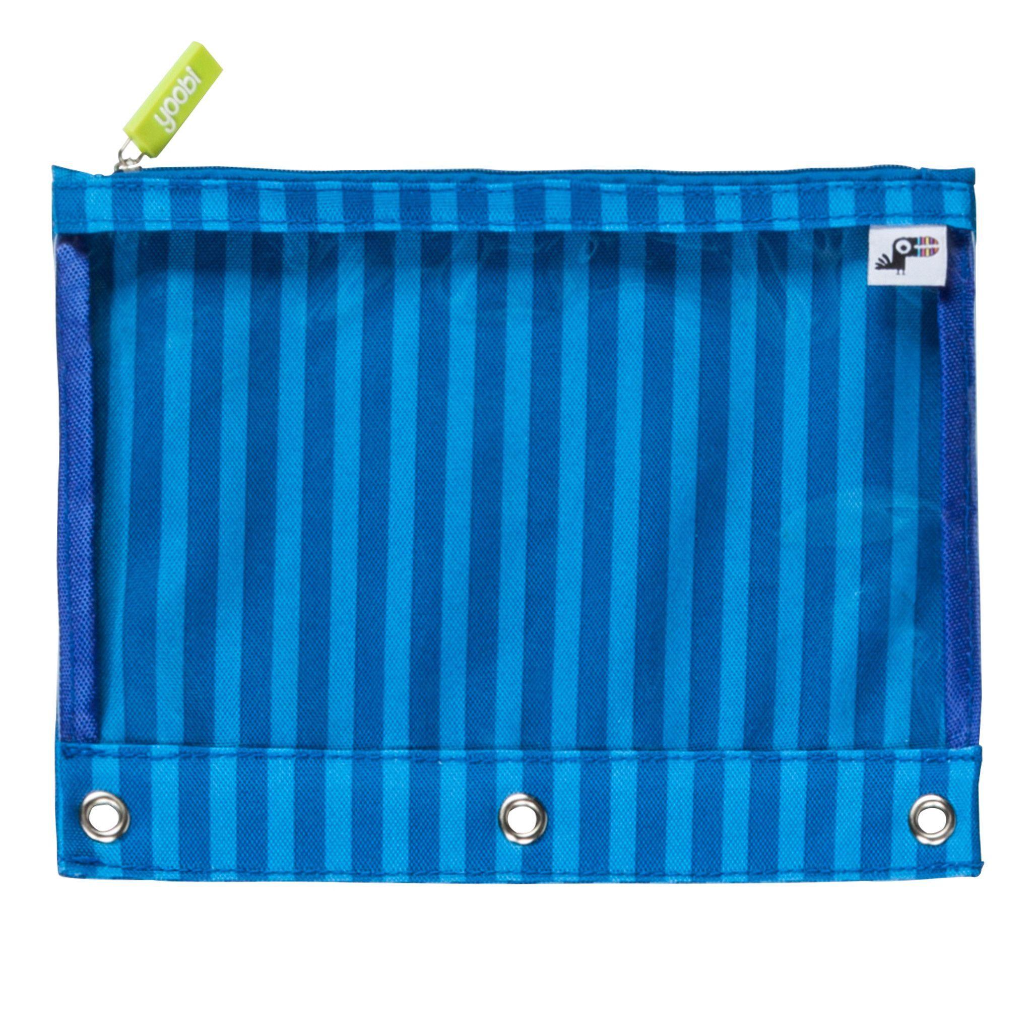 Binder Zip Case Blue Stripe All Things Yoobi Pencil Bags