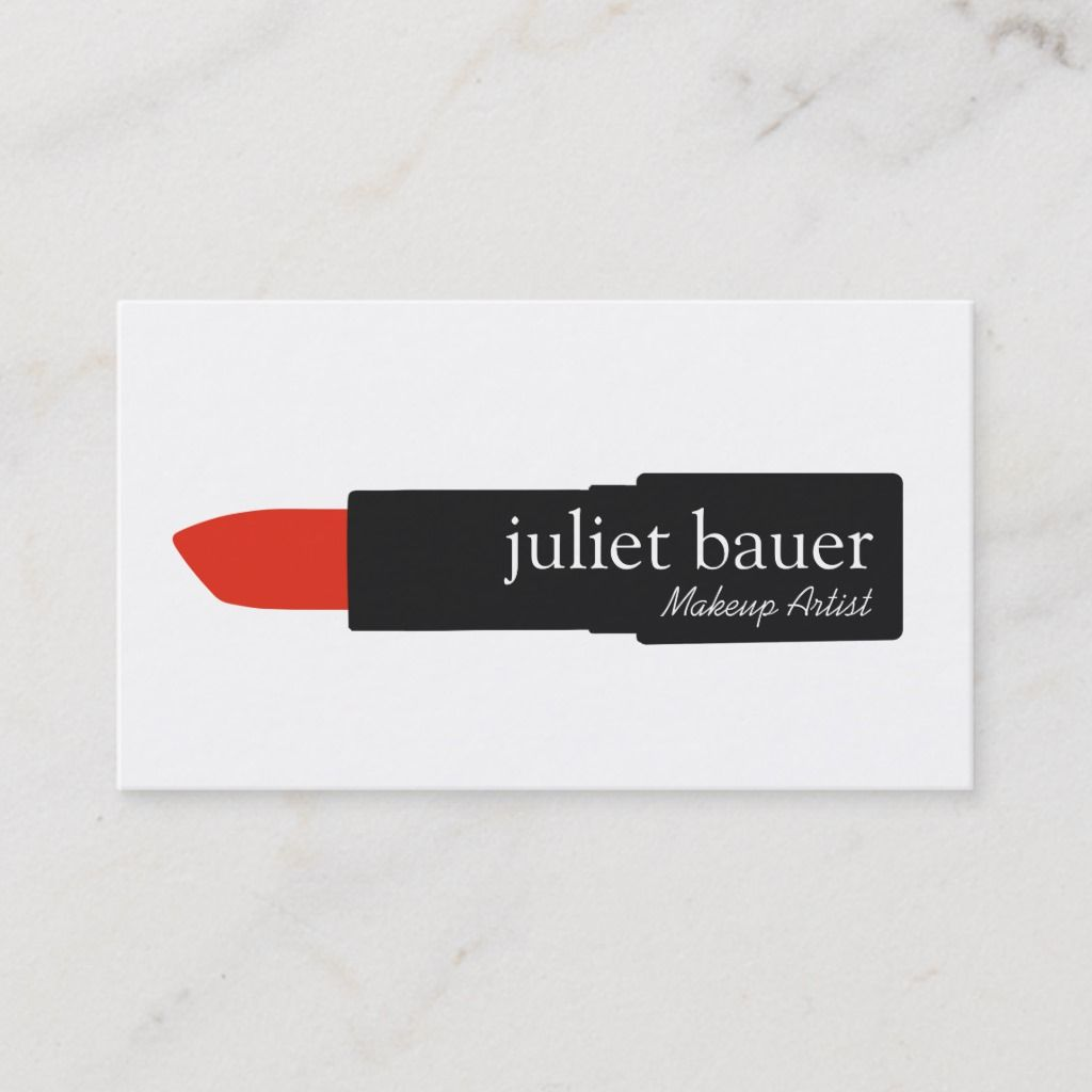 Simple White Makeup Artist Lipstick Logo Beauty Business Card | Zazzle.com -   15 makeup Artist lipsticks ideas