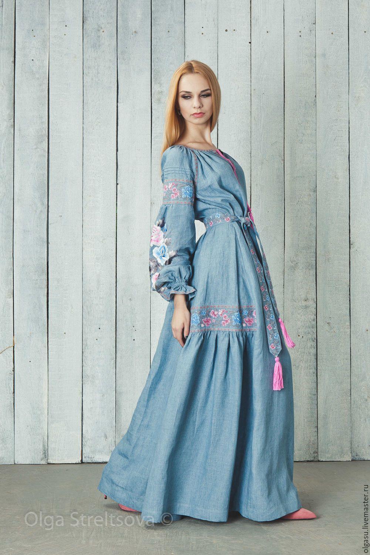 92cc4b431ab Платья ручной работы. Заказать Вышитое голубое платье в пол