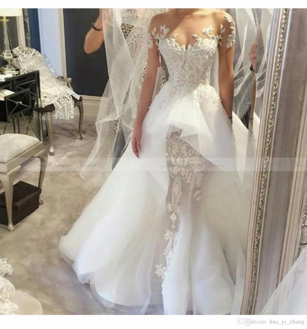 beautiful lace overskirts wedding dresses with sleeves off the