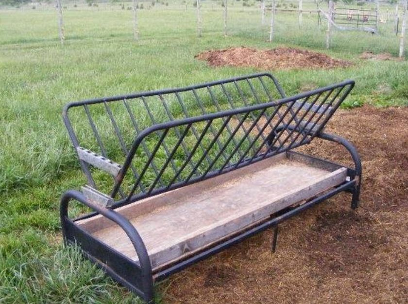 Recycle an old Futon frame into a goat feeder!!