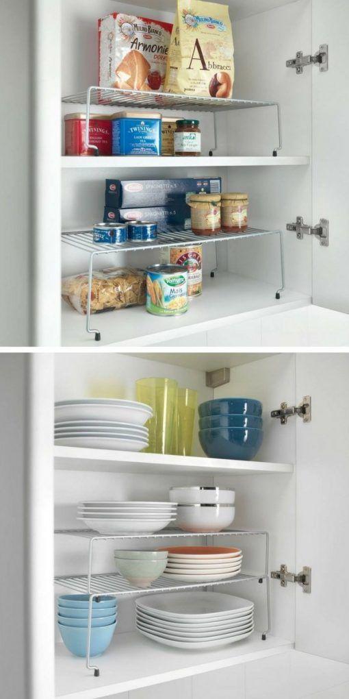 Une mini étagère empilable qui va vous faire gagner de l'espace de stockage dans vos placards ou ...