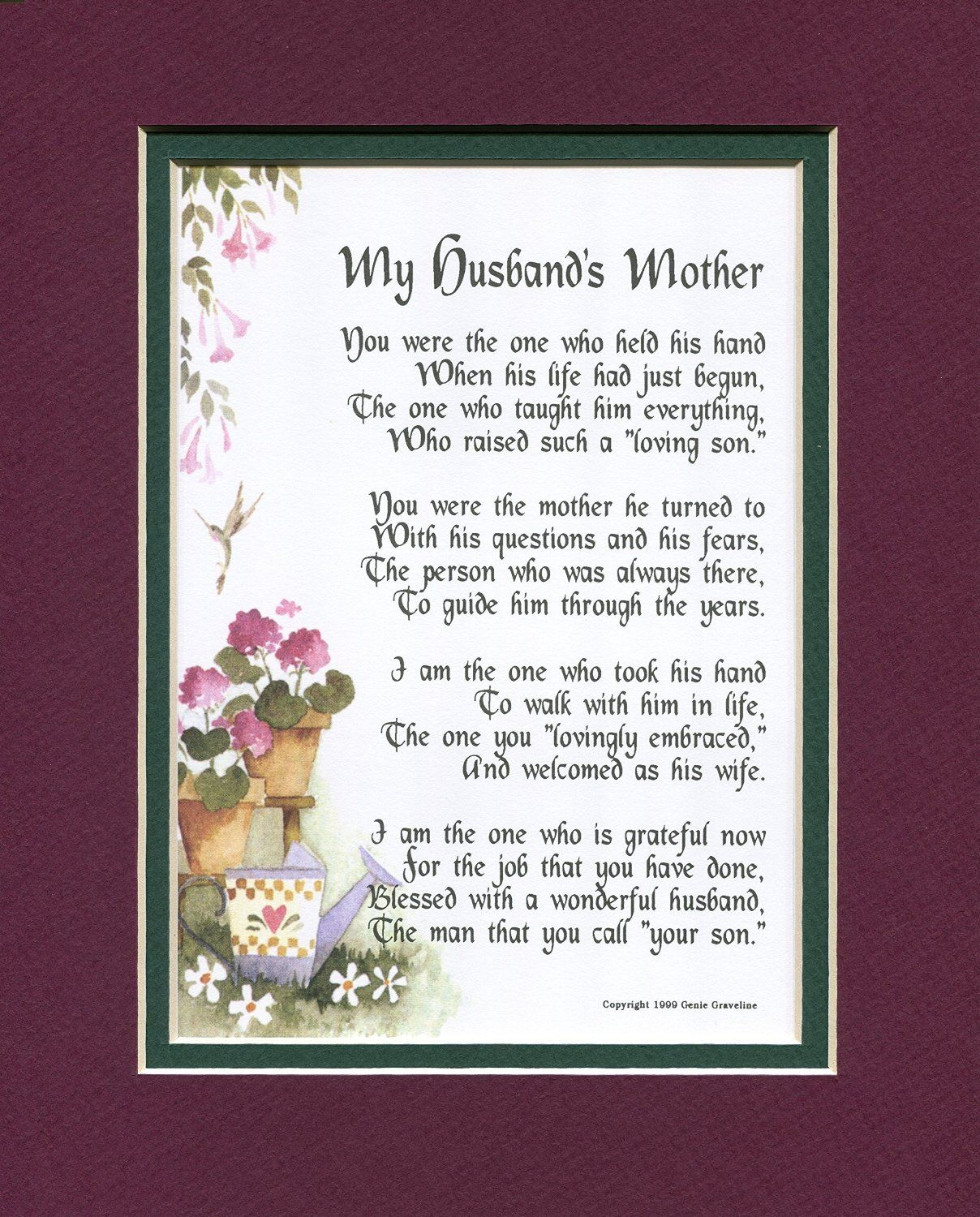 A Gift For Mother In Law Touching Poem Double Matted Burgundy Over Green And Enhanced With Watercolor Graphics Mothers Day