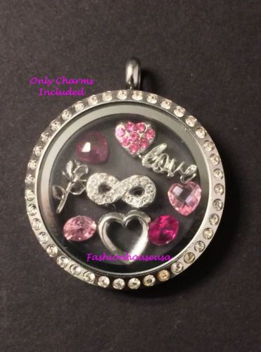 Valentine's Day Heart Scripted Love Infinity Living Locket Floating Charm Set