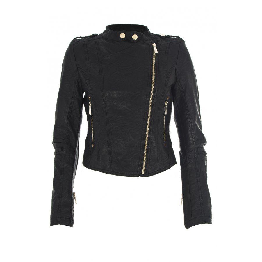 Black Diagonal Zip Biker Jacket