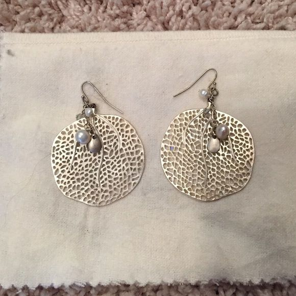 Silver earrings Looks almost like a piece of coral and fresh water pearls. White House Black Market Jewelry Earrings