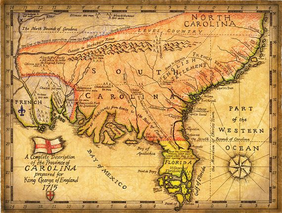 Carolina Map Art c. 1715 Hand Drawn Maps Early by GeographicsArt ...