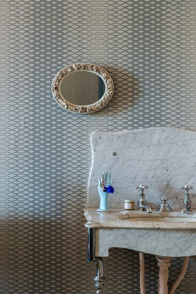 How To Accent Your Bathroom With Wallpaper The Interior Collective Farrow Ball Lattice Round Mirror Bathroom