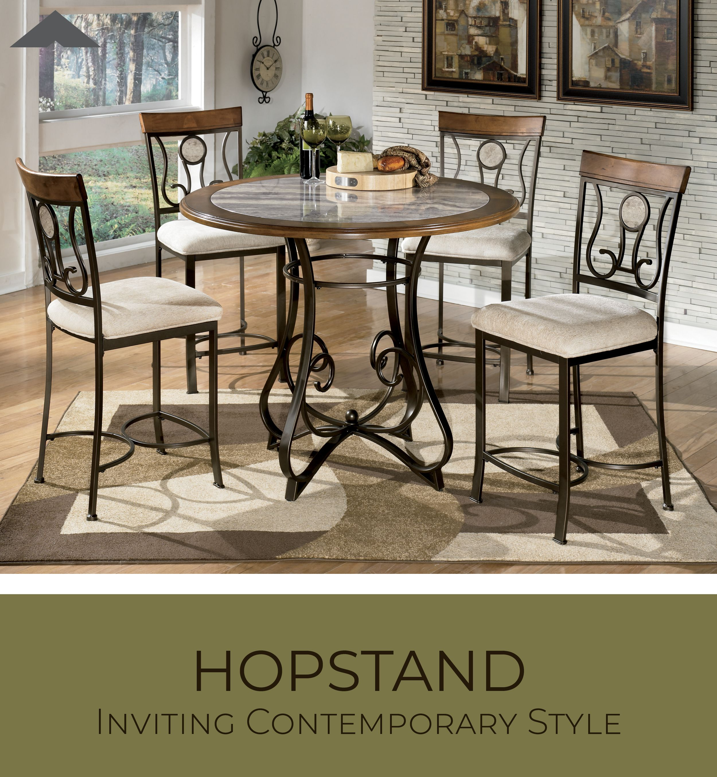 Hopstand Brown Round Dining Room Table Set By Ashley Furniture Ashleyfurnitur Dining Room Table Set Counter Height Kitchen Table Set Kitchen Table Settings