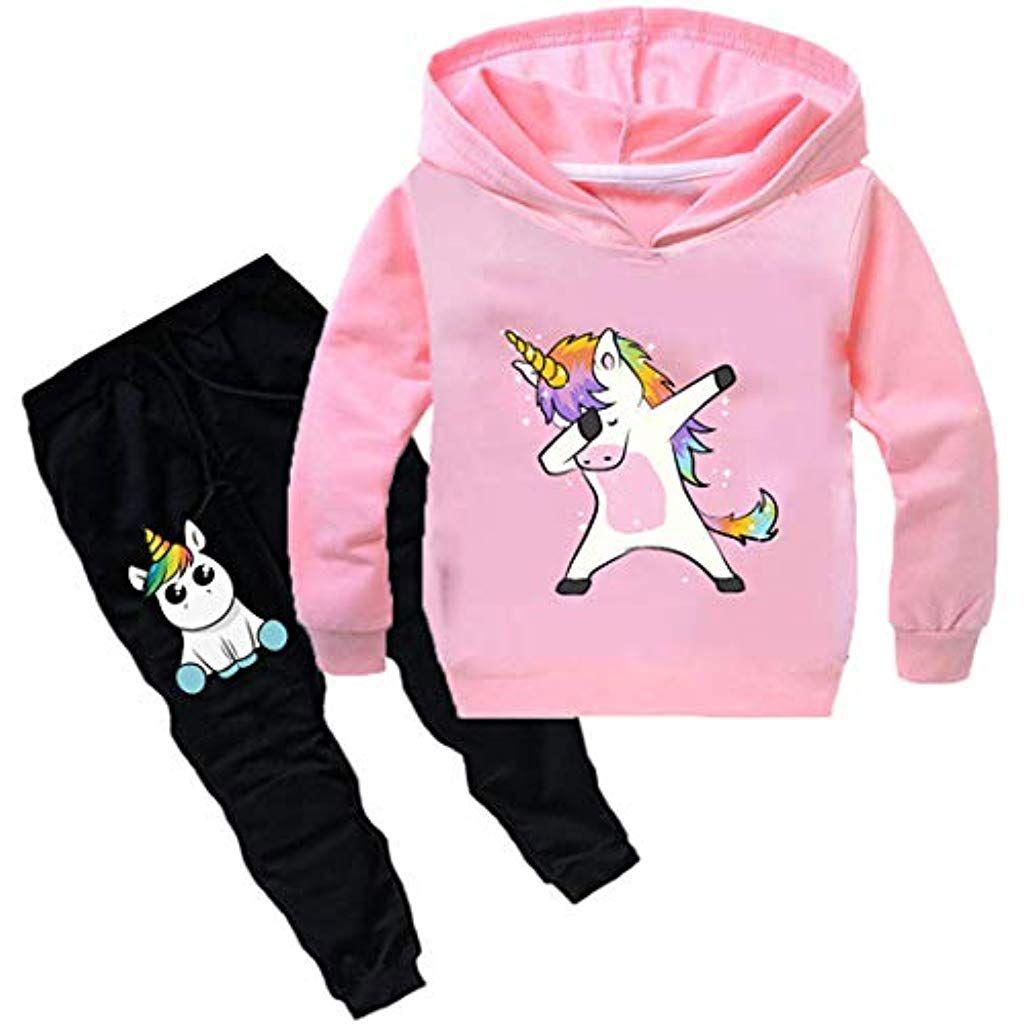 26b288238cc14 Silver Basic Ensemble Pantalon et Haut Sweat à Capuche Fille Licorne  Survêtement Fantasie Enfant Garçon