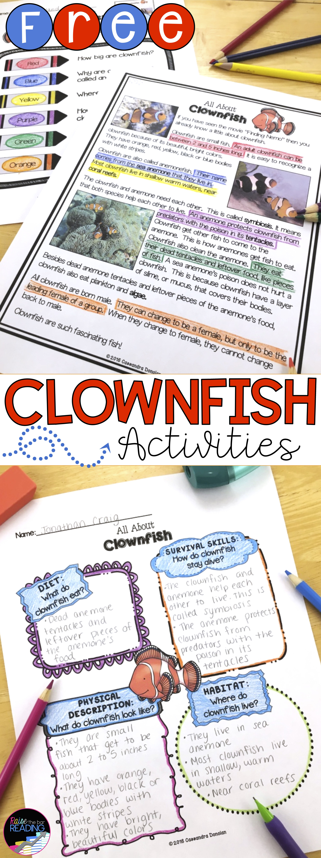 Ocean Animals Reading Freebie Clownfish Nonfiction