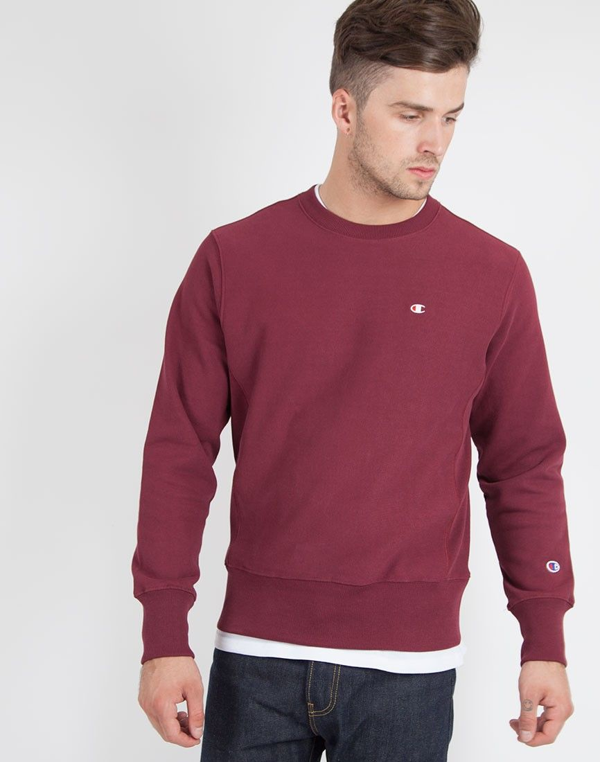Champion Crew Neck Sweat in Burgundy | Shop men's clothing at The Idle Man