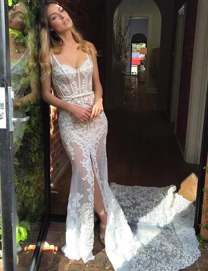 Sexy Scoop Sleeveless Mermaid Court Train Lace Wedding Dress with Sash Legslit