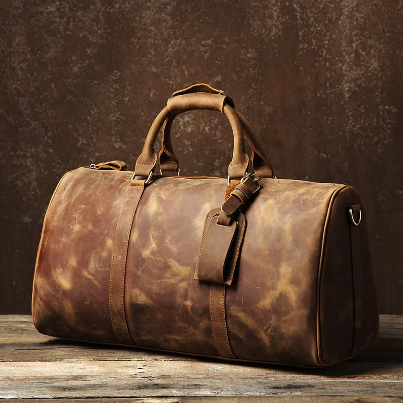 2458f95a35a8 Vintage Cool Leather Mens Weekender Bag Overnight Bag Duffle Bag ...