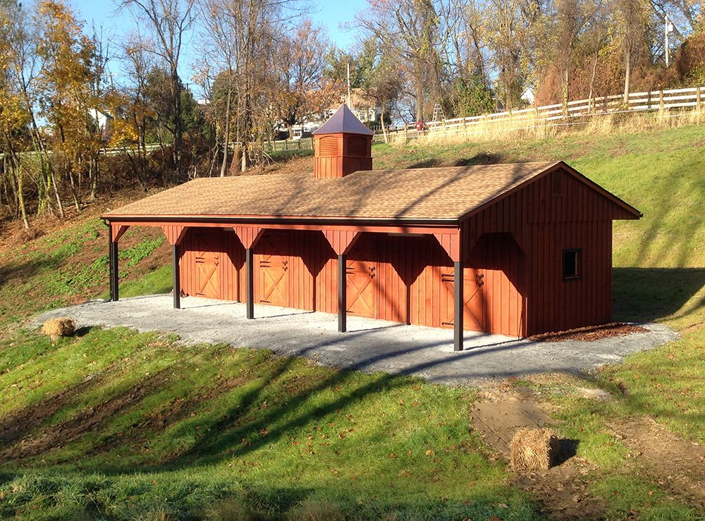 12x48 shedrow horse barn includes 4 12x12 stalls for 4 horse barn