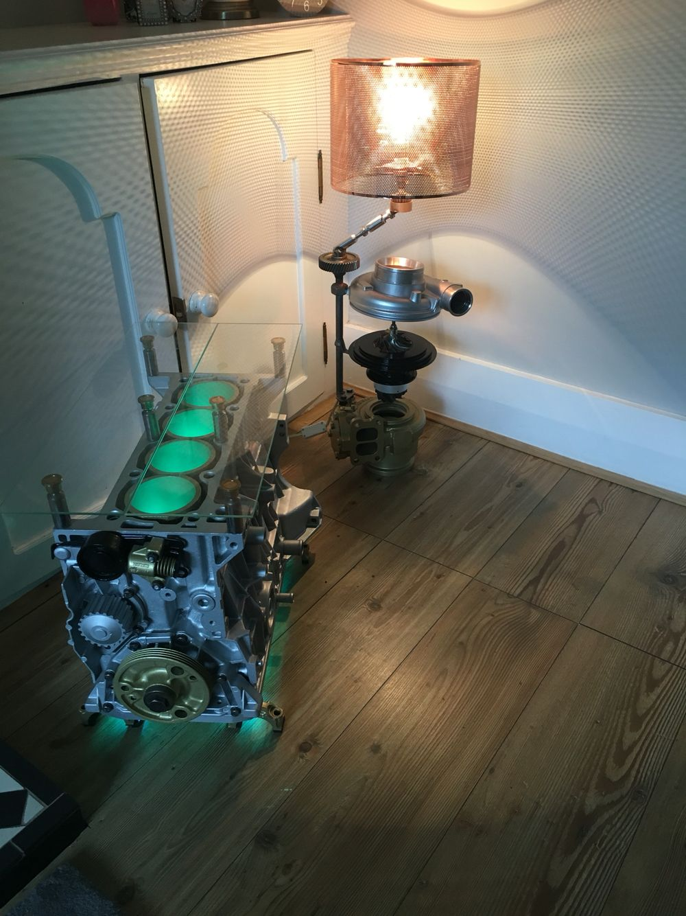 Engine coffee table turbo lamp upcycled furniture car part engine coffee table turbo lamp upcycled furniture geotapseo Images