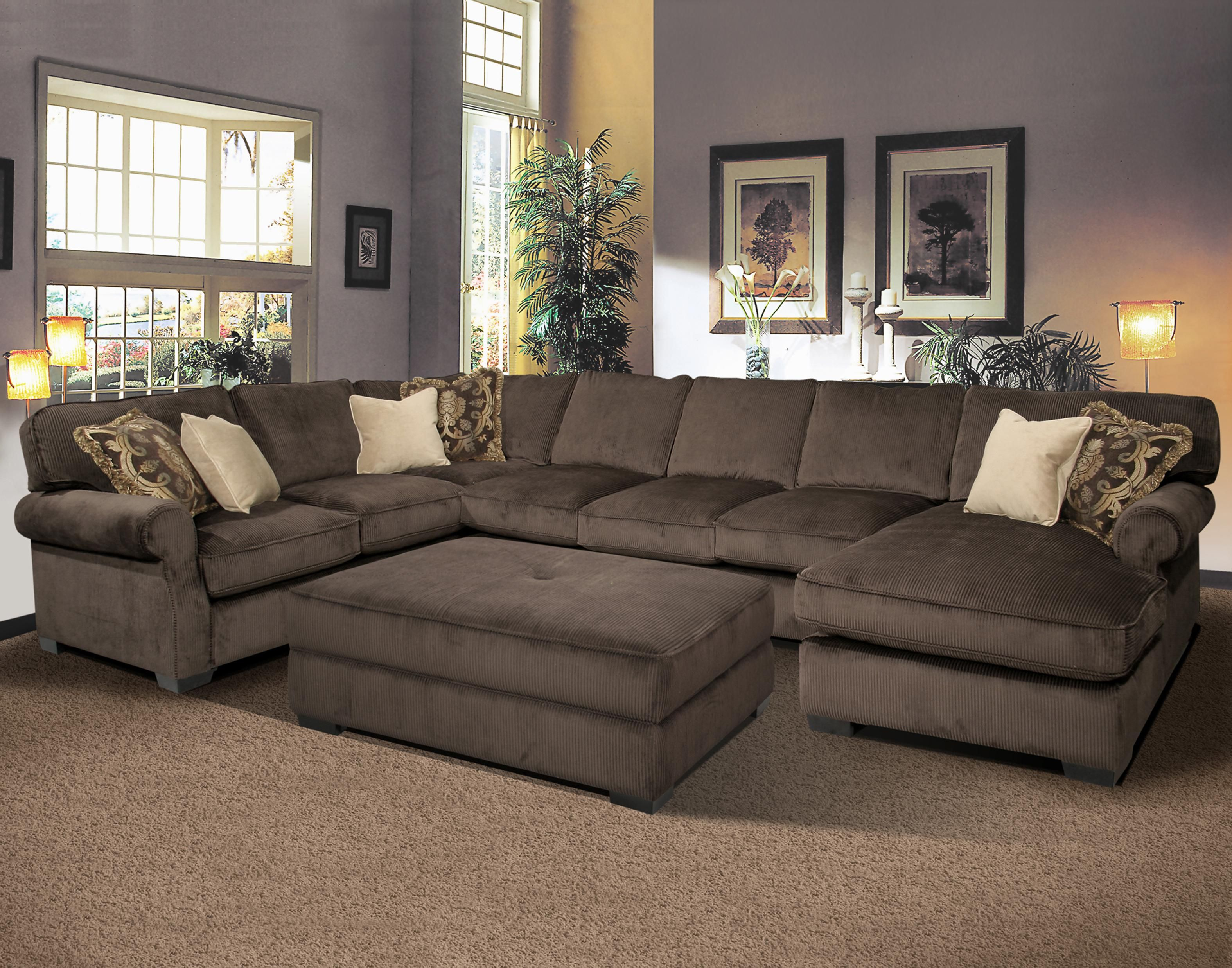 And Comfy Grand Island Large 7 Seat Sectional Sofa With Right Side Chaise By