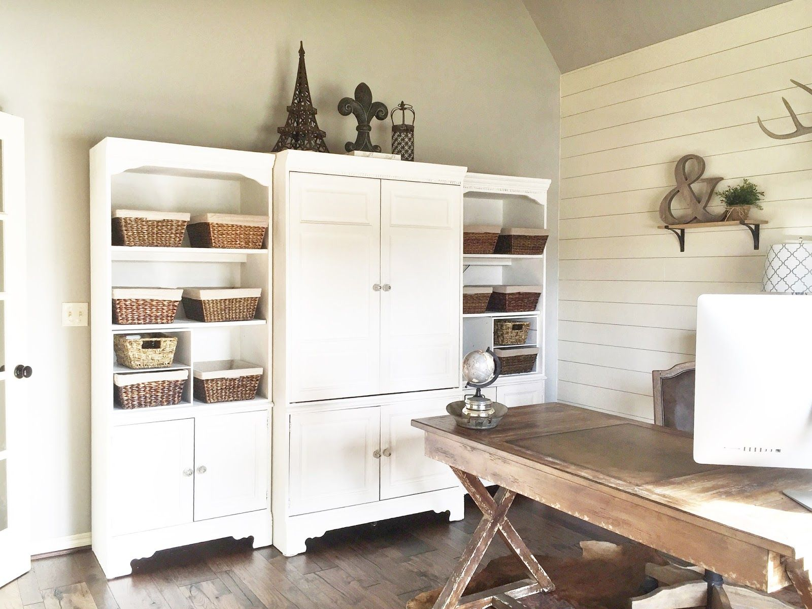 How to Install a Shiplap Wall + Rustic Home Office Makeover | Office ...
