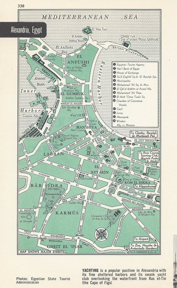 Alexandria Egypt Map, City Map, Street Map, 1950s, Green, Black and ...