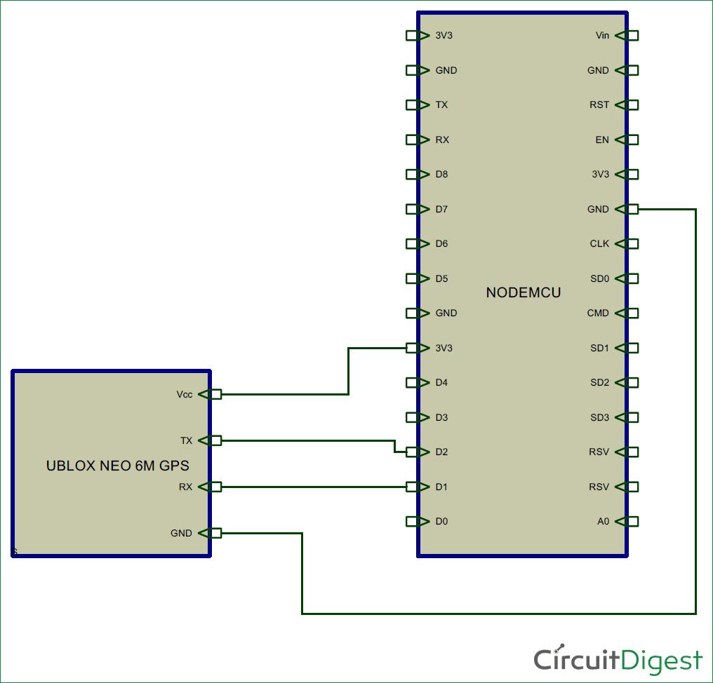 Circuit Diagram For Gps Interfacing With Nodemcu Electronic Electronics Simple Circuits