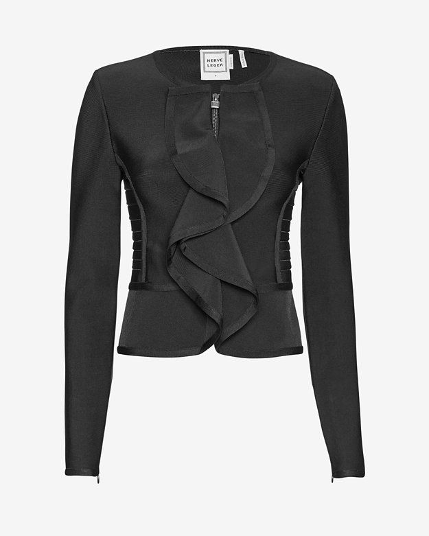 Herve Leger Ruffle Front Zip Jacket: Ruffles at the zipper placket give the signature Herve Leger bandage close knit fit a flirty dose. Long sleeves. In black.   Fabric: 90% rayon/9% nylon/1% spandex   Model Measurements: Height 5'10 1/2; Waist 24 ; Bust 31 wearing size S  Length from ...