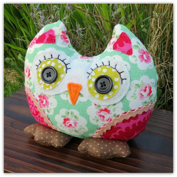 Rosebud, A Sweet Floral Owl Doorstop. Owl Bookend. Shelf Sitter.