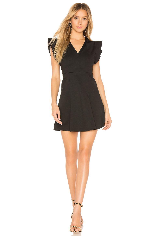 Flutter sleeve v neck dress in black fashion gowns