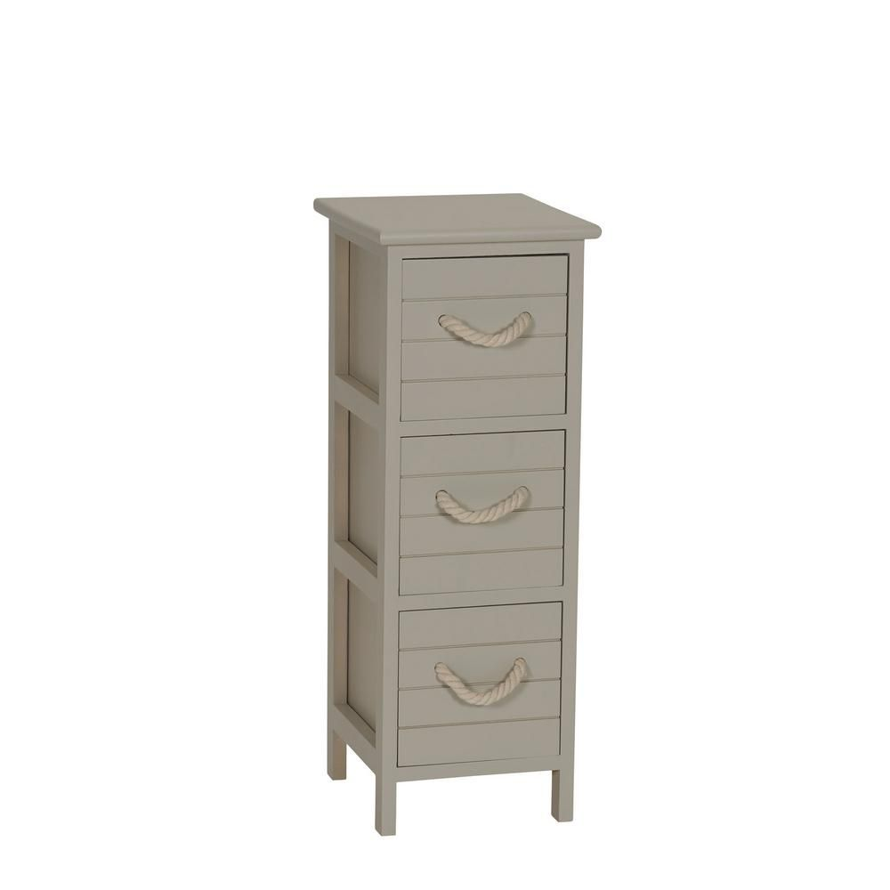 Household Essentials Seaside Brown 3 Drawer Narrow Storage Side Table Accent Chest Online Furniture Drawers