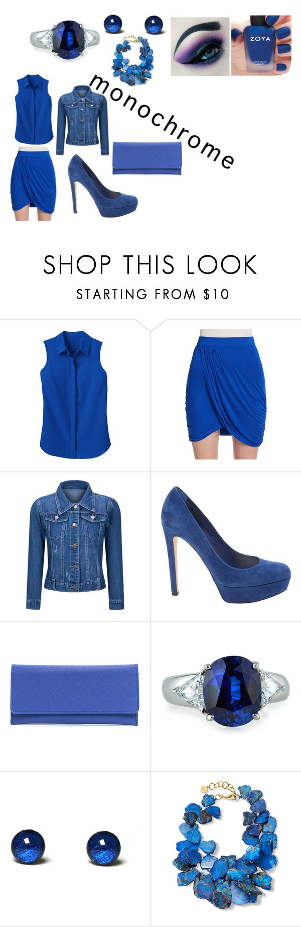 """""""Blue Monochrome"""" by lunarwolfdemon ❤ liked on Polyvore featuring TravelSmith, Vanity Room, WithChic, Christian Dior, Fantasia by DeSerio, NEST Jewelry, Zoya, Disney and monochrome"""