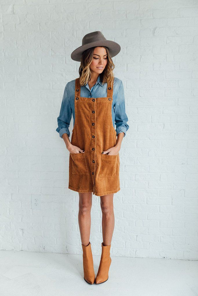 739d02a5d18 DETAILS  - Corduroy mustard dress overalls - Model is wearing a small