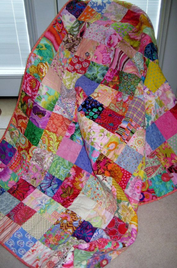Traditional Patchwork Quilt Throw Blanket Bold By Peppersattic