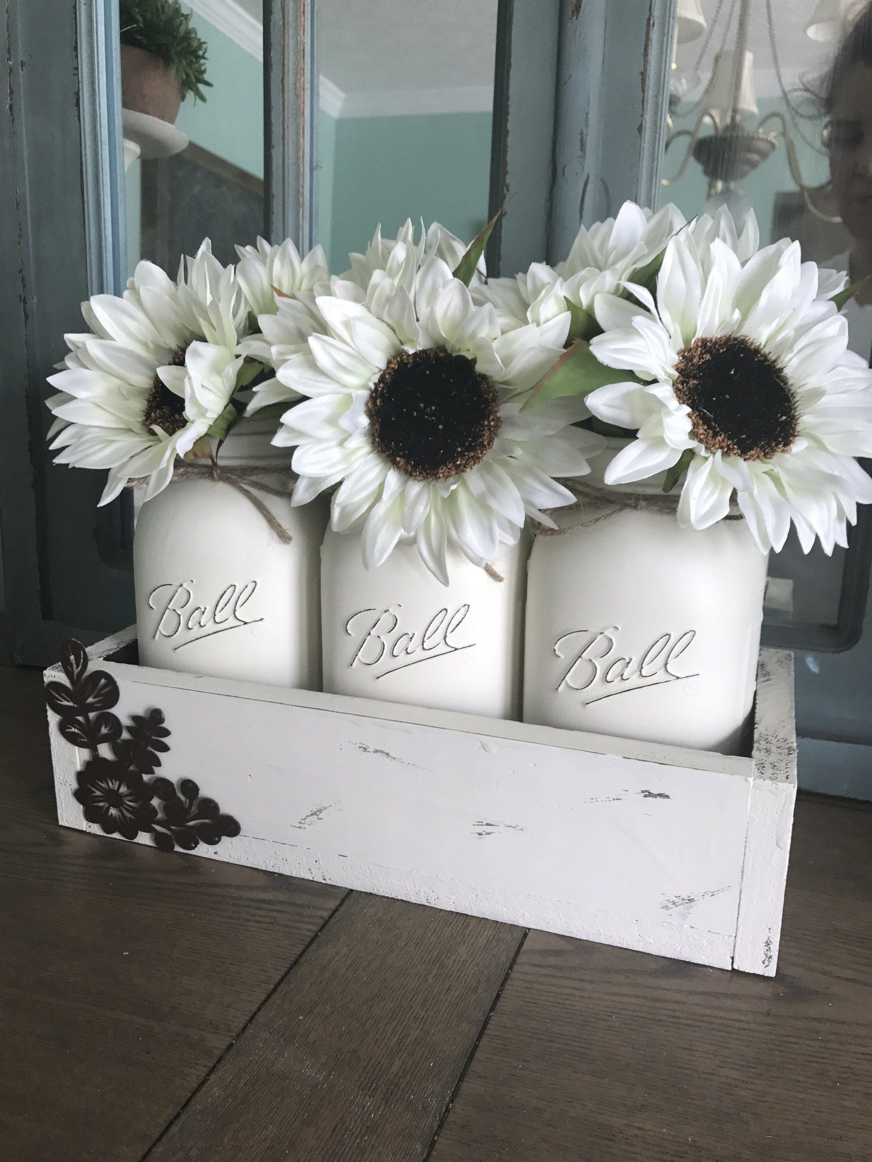 Rustic mason jar centerpiece - distressed cream box with sunflowers ...