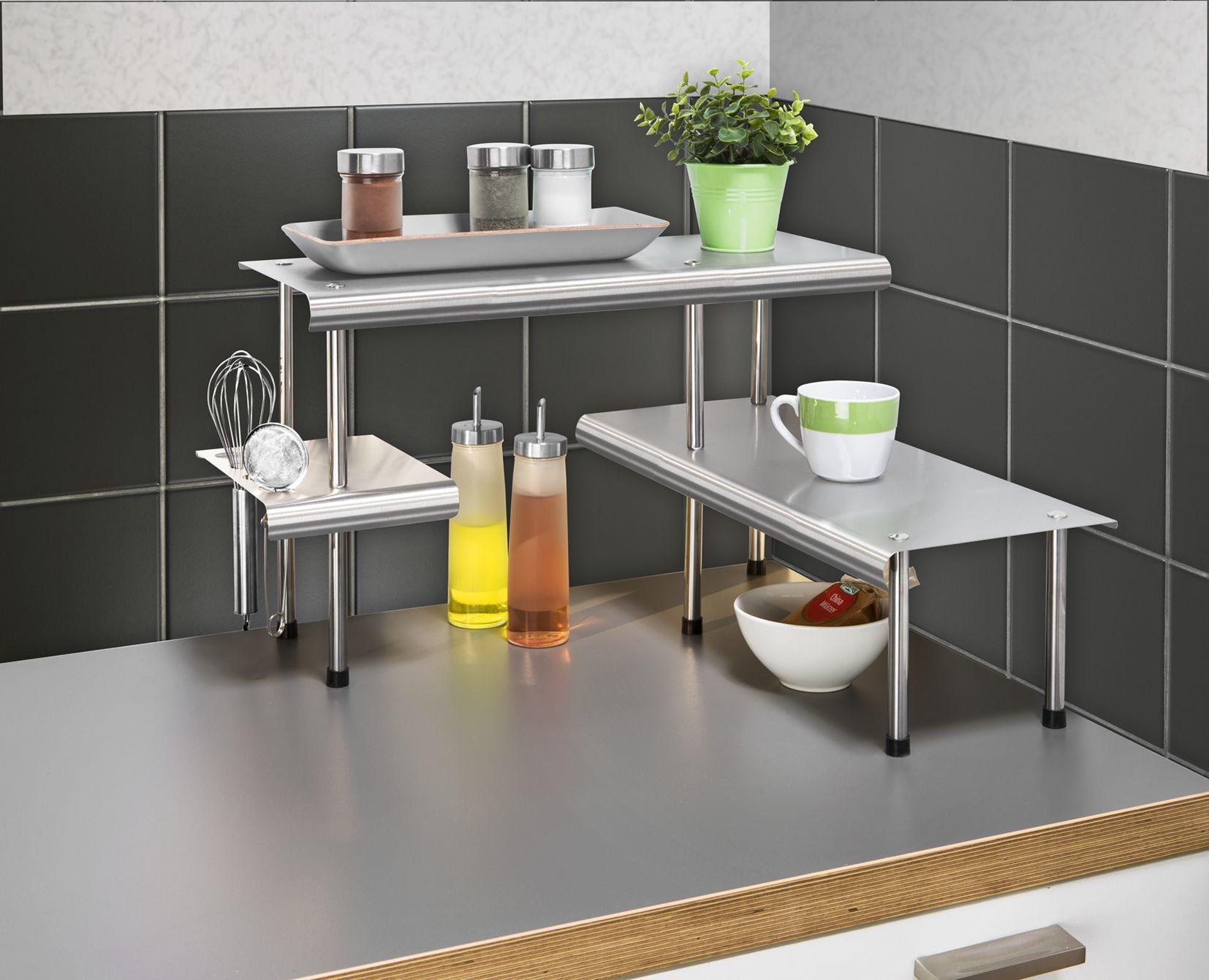 Küchen Aus Edelstahl wenko küchen eckregal massivo trio mit 3 ablagen edelstahl rostfrei