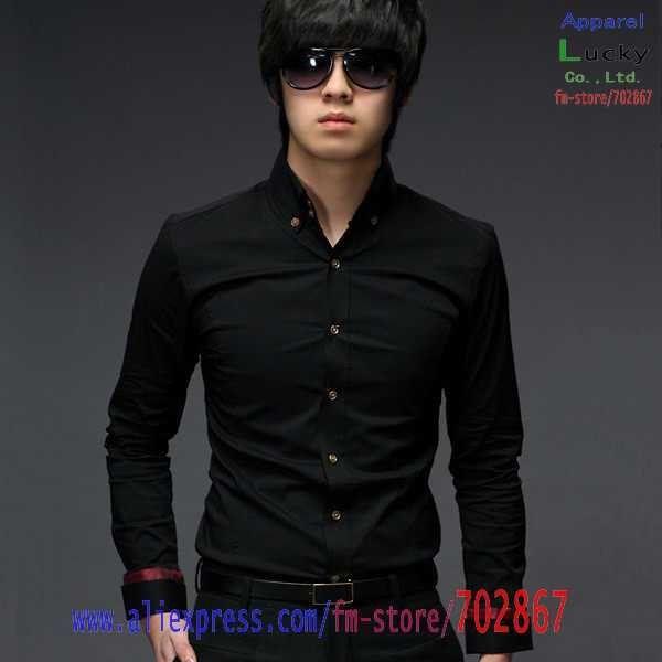 mens shirt fashion Slim Pure color Long Sleeves shirt SH71 M L XL black