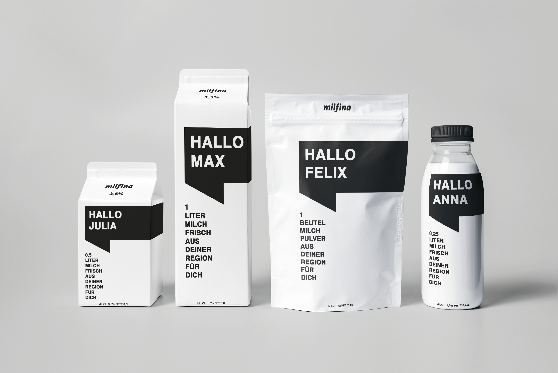Milfina packaging ReDesign. Dein Name auf einer