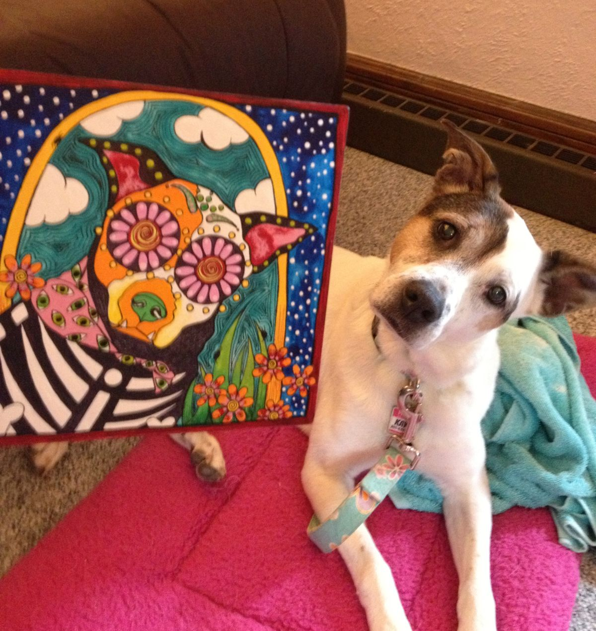 RobiniArt Kaya, the Mixed Breed Cutie Pie, Day of the Dead, Dia de los Muertos, dog art, pet portrait. #design, #dogs, #art