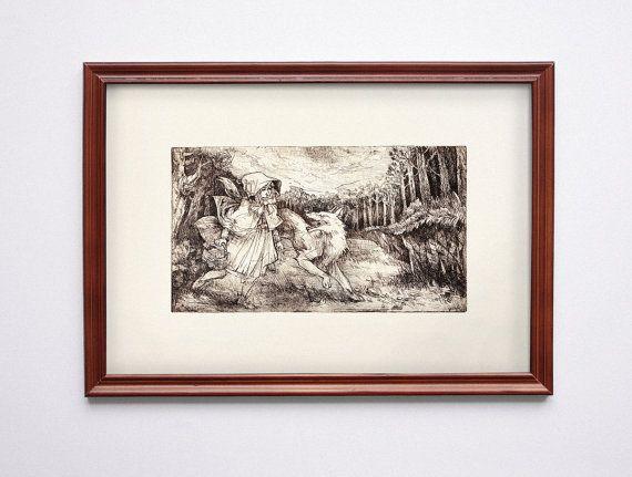Little red riding hood Original etching print by BarbaraBernat