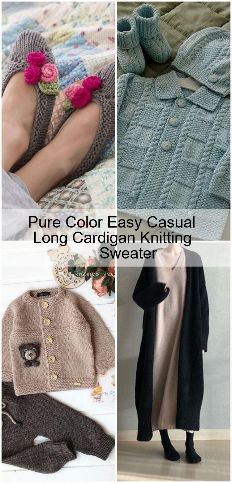 Pull couleur simple et décontracté à long cardigan à tricoter Pull couleur simple et décontracté à long cardigan à...