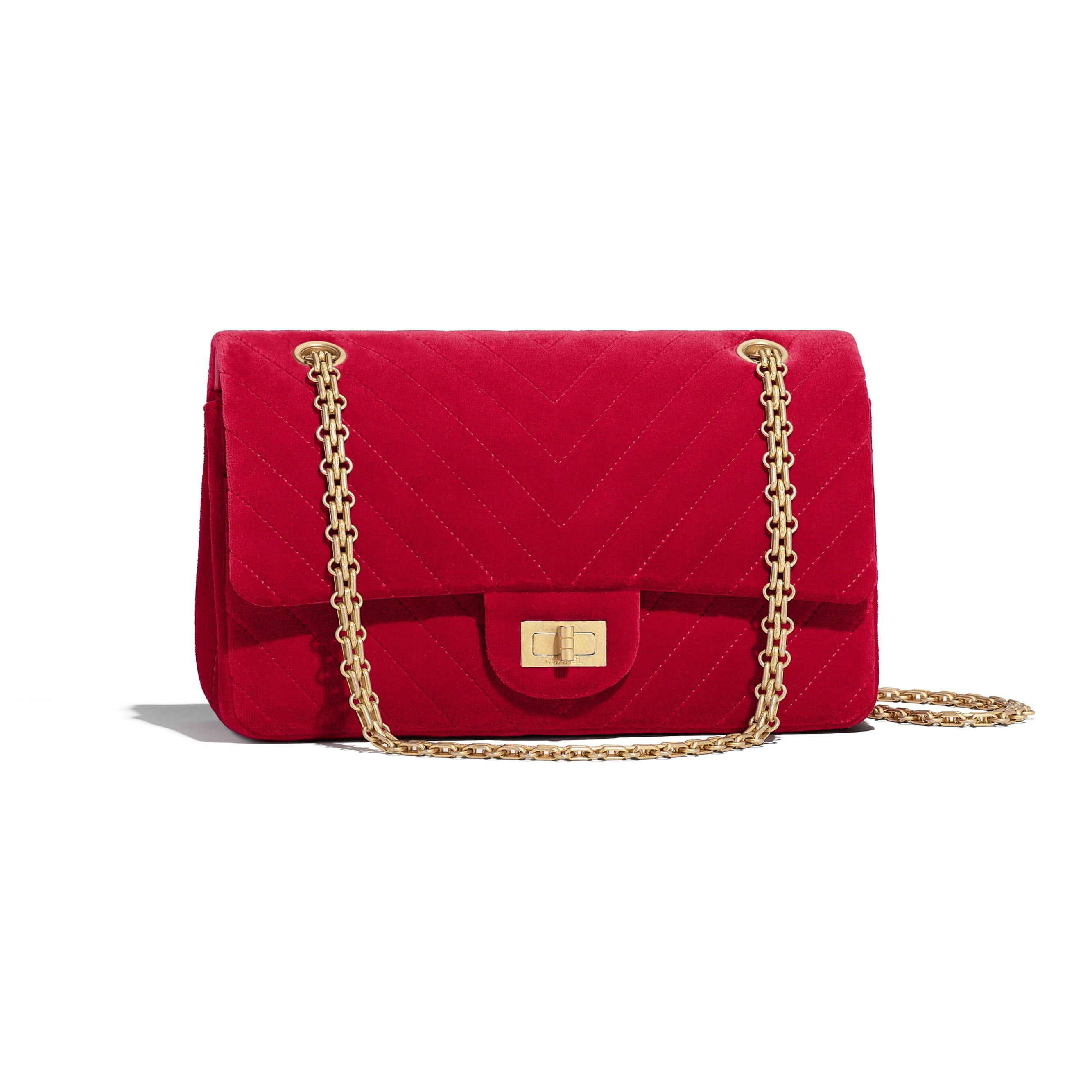fd78cb060472 Velvet   Gold-Tone Metal Red 2.55 Handbag