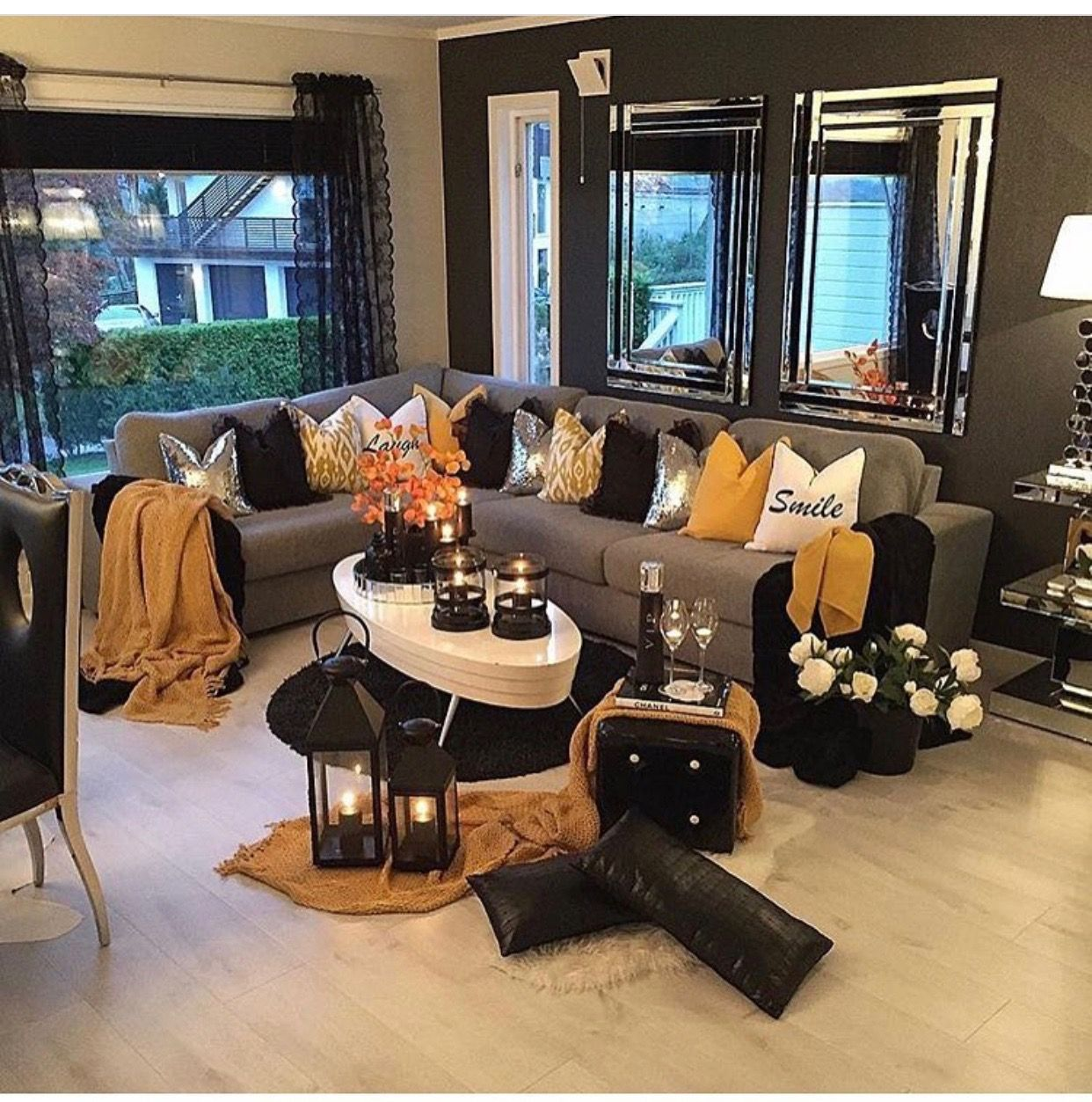 Love The Color Combo Yellow Grey Black And Silver Living Room