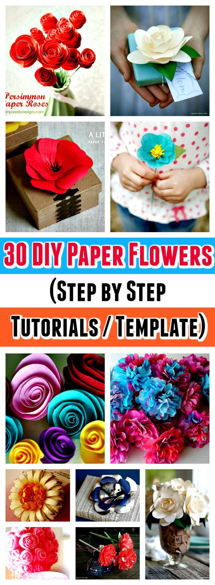 DIY Paper Flowers Step by Step Tutorials  Template  DIY Crafts