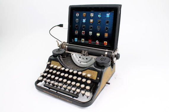 USB Typewriter Computer Keyboard -- Underwood Portable with Gold Leaf Finish