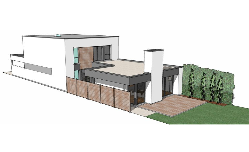 plan maison contemporaine terrain etroit